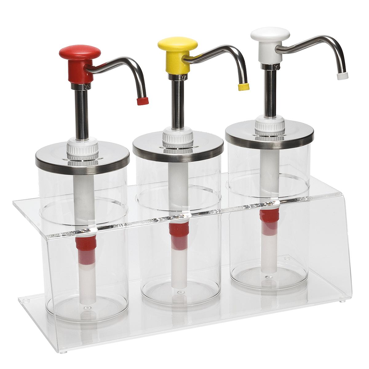 Bar De Salsas De Plexiglás Con Dosificadores Con Mando De Botón
